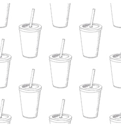 Seamless pattern with hand drawn cup of milk shake vector