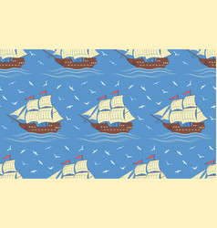 seamless pattern with sailboats and gulls vector image