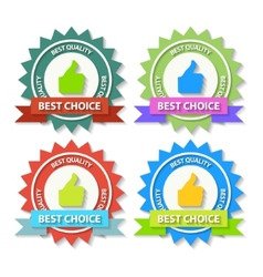 set flat best choice labels with ribbon vector image