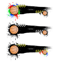 set grunge banners with blots and basketball balls vector image
