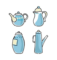 set of tableware hand-drawn on a white background vector image vector image