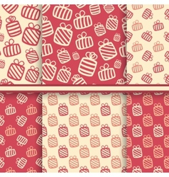 set seamless patterns with gift boxes vector image