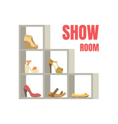Show room banner template female footwear on vector