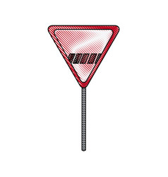 Sign danger triangle road traffic empty vector