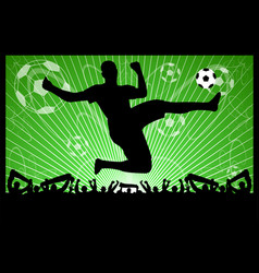 soccer silhouettes on abstract background vector image