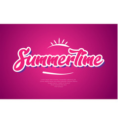Summertime word text typography pink design icon vector