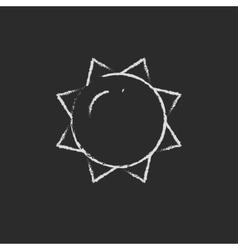 Sun icon drawn in chalk vector