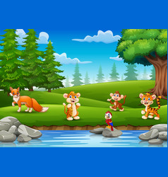 the little animals are enjoying nature by the rive vector image