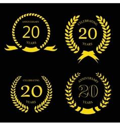 twenty years anniversary laurel gold wreath - 20 vector image