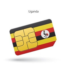 Uganda mobile phone sim card with flag vector image