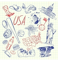 USA Symbols Pen Drawn Doodles Collection vector