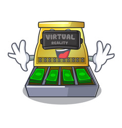 Virtual reality cash register with lcd display vector