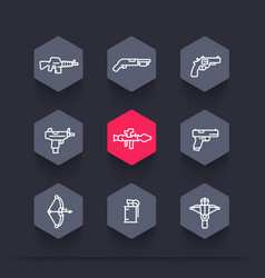 weapons icons set in linear style vector image