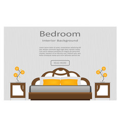 web banner of elegance bedroom interior with vector image