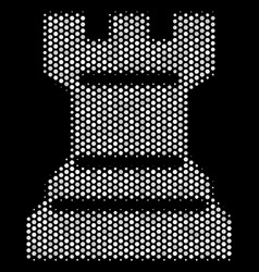 White pixelated chess tower icon vector