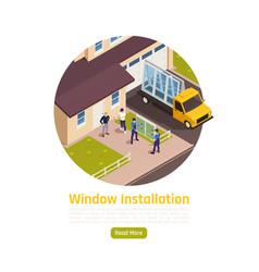 Window installation isometric composition vector