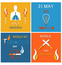 world no tobacco day banners set refuse nicotine vector image