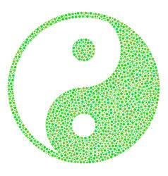 yin yang mosaic of small circles vector image