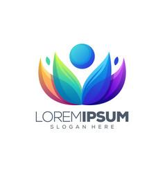 yoga lotus logo design vector image