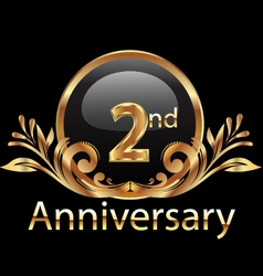 2nd anniversary birthday in gold vector image