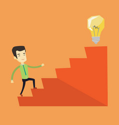 business man walking upstairs to the idea bulb vector image vector image
