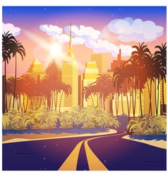 City at sunrise vector