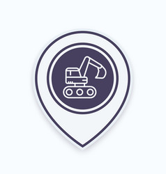 excavator icon in linear style on map pointer vector image vector image