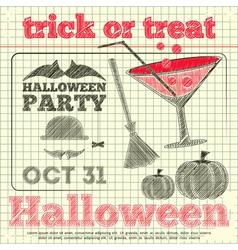 halloween party sketch vector image vector image