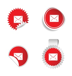 letter envelope sticker red vector image vector image