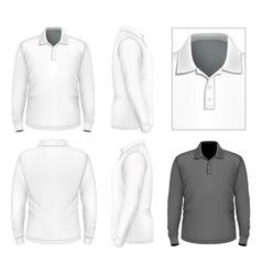 Mens long sleeve polo-shirt design template vector image