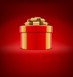 red gift box with gold ribbon vector image vector image