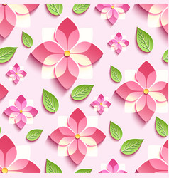 seamless pattern with pink 3d sakura vector image