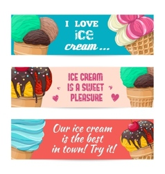 Set of banners with ice-cream vector image