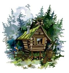 Cartoon fairy hut on chicken legs in woods vector