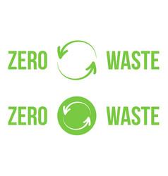 green zero waste heading logos design elements vector image