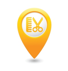 hairdressing salon icon yellow map pointer vector image vector image