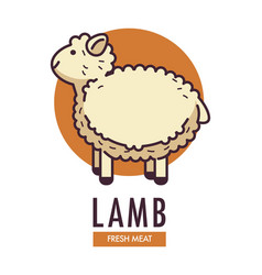 lamb fresh meat promotional emblem with fluffy vector image