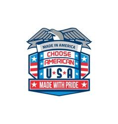 Made In America Patriotic Shield Retro vector image vector image