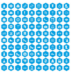 100 woman shopping icons set blue vector