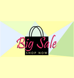 big sale poster or banner with black bag and vector image