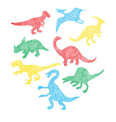 different dinosaur silhouette icon in cartoon vector image
