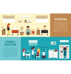 Hospital and Family Doctor flat hospital interior vector image