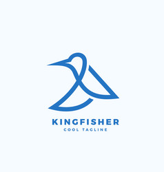 kingfisher bird abstract icon label or vector image vector image