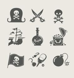 Pirates accessory set of icon vector