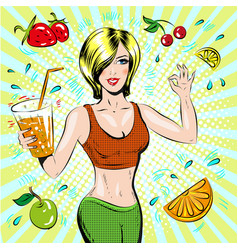 pop art of beautiful sporty vector image vector image