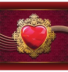 ruby heart in golden frame on floral background vector image vector image