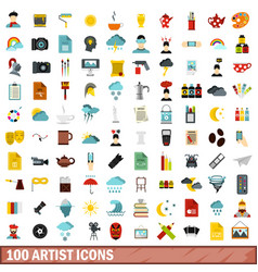 100 artist icons set flat style vector image vector image