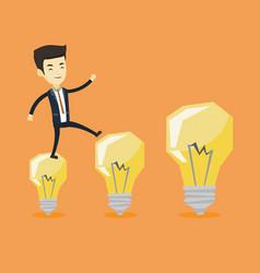 business man jumping on light bulbs vector image vector image