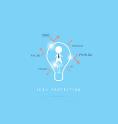 businessman in the lightbulb outline and words vector image vector image