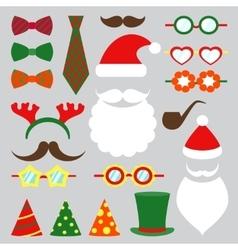 Christmas photo booth set vector image vector image